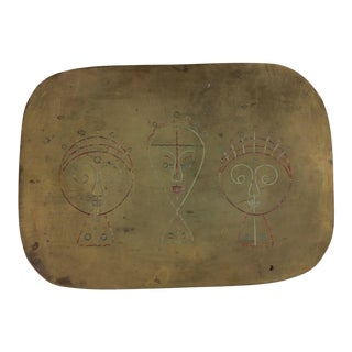 Mid-Century Figural Design Brass Tray For Sale