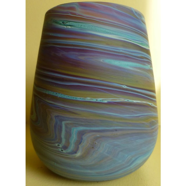 Abstract Mid Century Studio Art Glass Vase For Sale - Image 3 of 13
