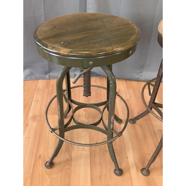 Toledo Metal Furniture Co. Toledo Industrial Adjustable Height Backless Swivel Stools, Three Available For Sale - Image 4 of 13