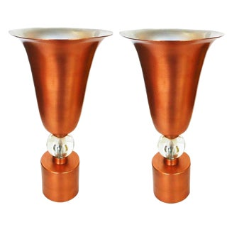 Copper Midcentury Torchère Table Lamps, Pair For Sale