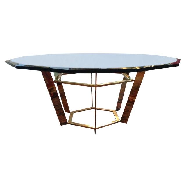 70's Modern Brass & Glass Coffee Table For Sale