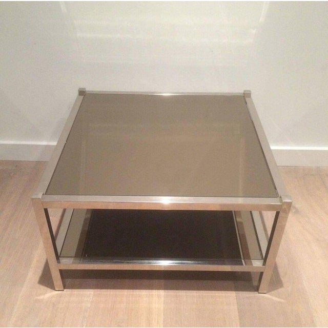 Pair of Large Chrome Side Tables with Bronzed Mirrors - Image 4 of 11
