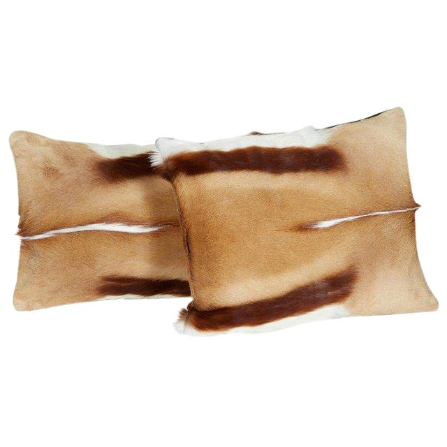 Pair of Luxury Fur Throw Pillows in Exotic African Springbok For Sale
