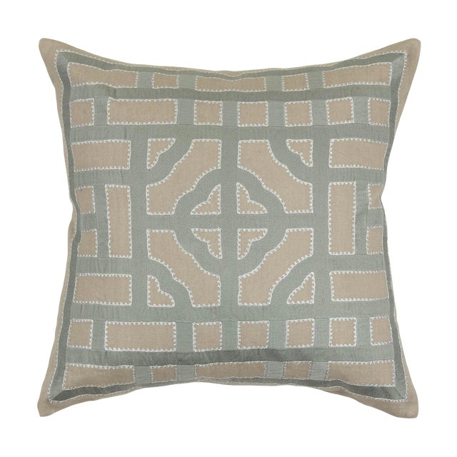 Contemporary Tr Essentials Embroidered Geometric Linen Pillow - 22x22 For Sale