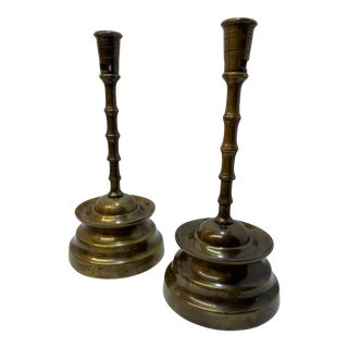 Vintage 1970s Brass Bamboo Style Candle Holders - a Pair For Sale