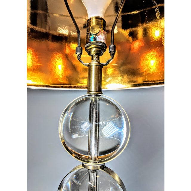 Early 21st Century Global Views Crystal Ball Lamp in Brass With Linen & Gold Lined Shade - a Pair For Sale - Image 5 of 13