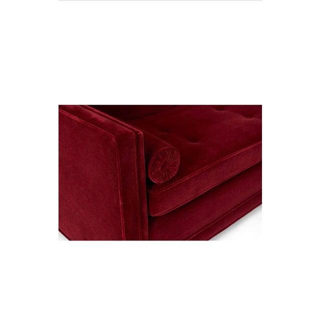 Ward Bennett Ward Bennett Red Mohair Tuxedo Sofa For Sale - Image 4 of 7
