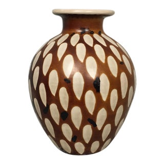 Cream & Brown Vintage Peruvian Paz Teardrop Vase