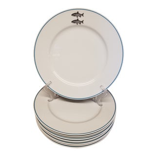 "12"" Dinner Plates With Fish Motifs and Aqua Stripe Border - Set of 8 For Sale"