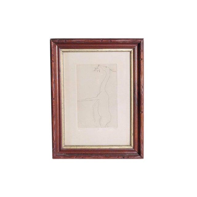 Etching of a Deer by Beth Van Hoesen (1926-2010) California For Sale