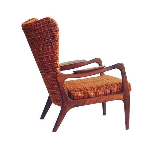 Mid Century Modern Wingback Chair Atomic Age Walnut Arm Chair All Original - Image 3 of 11