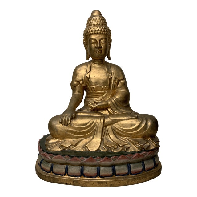 Lifesize Hand Carved Solid Wood Gold Leaf Buddha For Sale