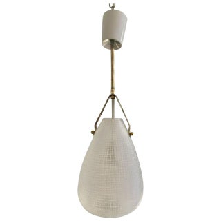Italian Glass or Brass Pendant Chandelier For Sale
