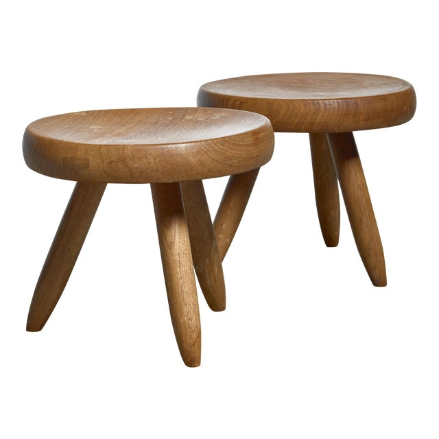 Charlotte Perriand Pair of Low Stools in Ash, France For Sale