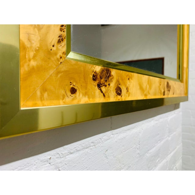 Mid-Century Modern Mid Century Modern Brass and Burl Wood Mirror For Sale - Image 3 of 5