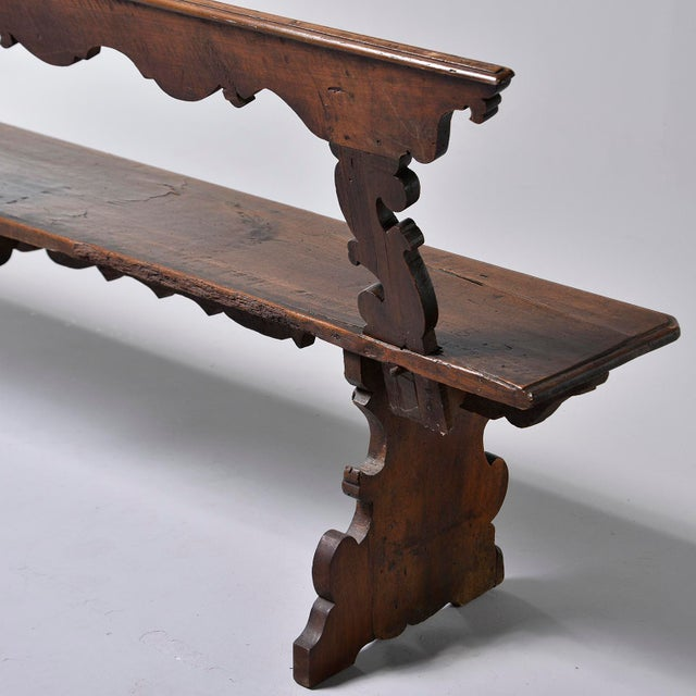 Mid 19th Century 19th Century Italian Primitive Hand Carved Bench For Sale - Image 5 of 13