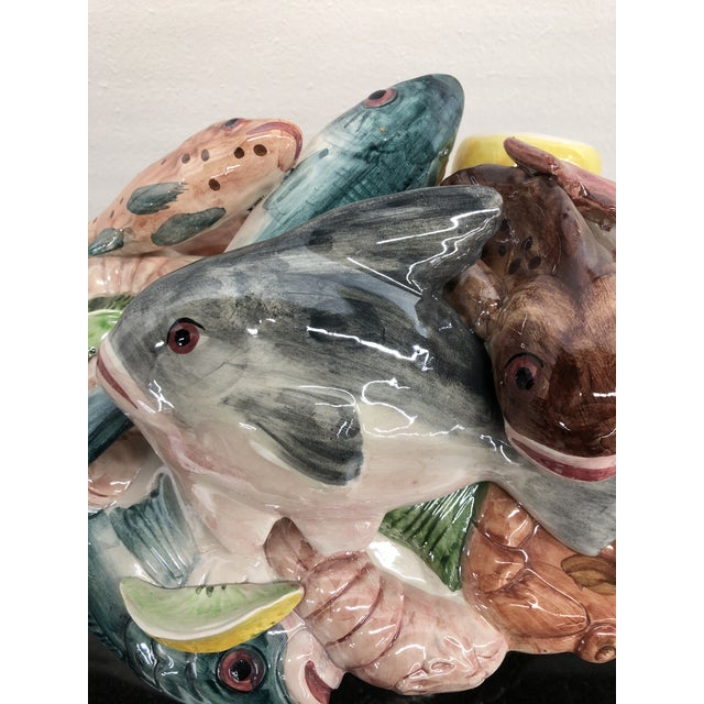 Vintage Italian Majolica Hand-Painted Fish Centerpiece Tureen For Sale In Boston - Image 6 of 13