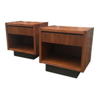 1960s Modern Cubic Lane Furniture Walnut Nightstands - a Pair