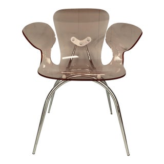 Mid-Century Modern Pink Lucite Acrylic & Chrome Arm Chair For Sale