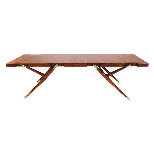 Brass BURL WALNUT AND BRASS 1950S COFFEE TABLE BY ICO PARISI FOR SINGER AND SONS For Sale - Image 7 of 8