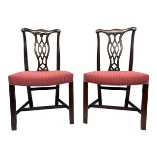 Hickory Chair Mahogany Chippendale Straight Leg Dining Side Chairs - a Pair