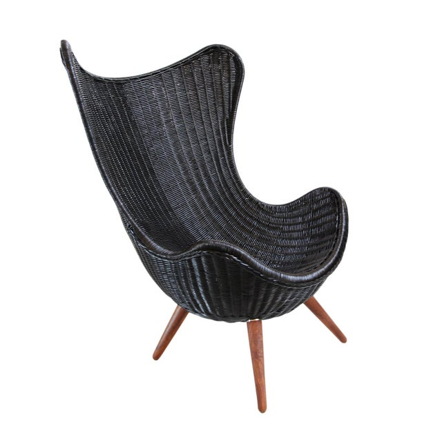 2020s Ebony Wicker Egg Chair For Sale - Image 5 of 5