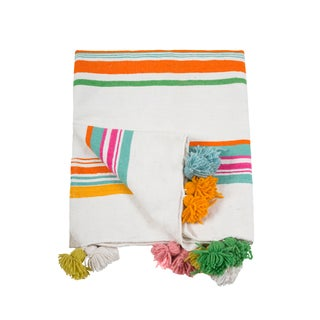 Moroccan Multicolored Pom Pom Queen Size Blanket For Sale
