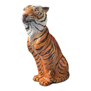 Large Mid Century Glazed Ceramic Tiger Statue For Sale