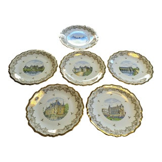 1960's Vintage French Chateaux Decorative Plates by Jammet Seignolles, Limoges - Set of 6 For Sale