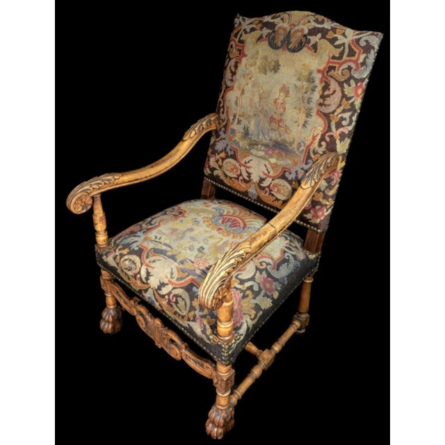 Elaborately Carved Chair With Lion Paw Feet And Needlepoint Upholstery. Upholstery Features Two Figures On Back And Two...
