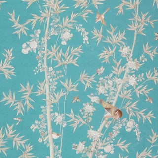 Schumacher X Miles Redd Bright Pavilion Wallpaper in Peacock For Sale