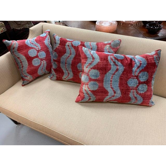 Blue Contemporary Handwoven Cotton Velvet Pillow For Sale - Image 8 of 9