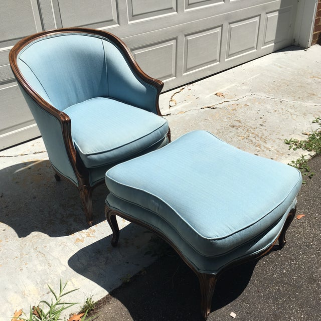 French Barrel Back Chair & Ottoman - A Pair - Image 2 of 9
