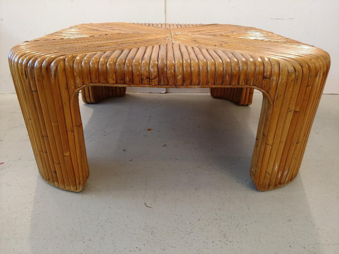 Boho Chic Mid Century Bent Waterfall Rattan Cocktail Table For Sale   Image  3 Of