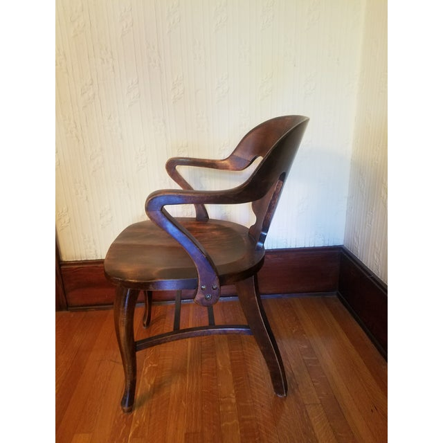 Vintage Restored Wooden Office Chair - Image 8 of 9