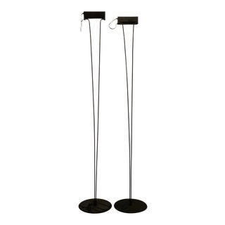 1980s Postmodern Halogen Black Iron Floor Lamps - a Pair For Sale