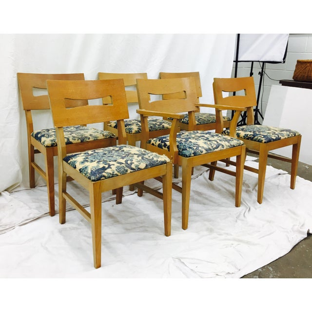 Vintage Mid-Century Modern Square Back Wooden Dining Chairs - Set of 6 For Sale - Image 5 of 9