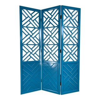 Chinese Chippendale Three Panel Room Divider Screen