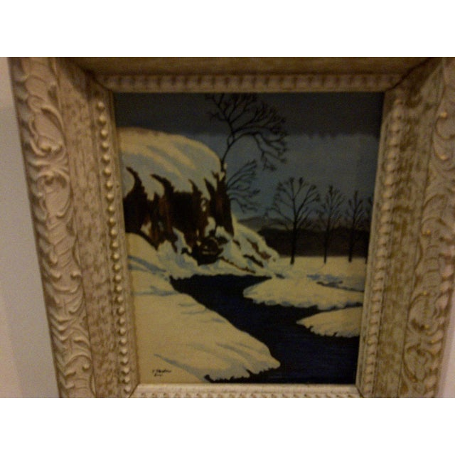 "Traditional Original Painting ""Snowy Stream"" by F. Shaffer 1961 For Sale - Image 4 of 7"