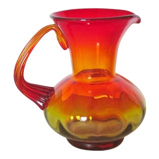 Blenko Amberina Art Glass Modern Pitcher For Sale