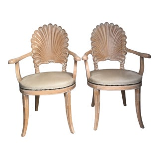 Vintage Mid Century Carved Shell Back Grotto Arm Chairs- A Pair For Sale
