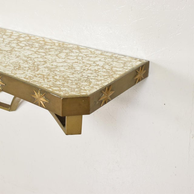 Arturo Pani Mid-Century Mexican Modernist Star Brass Wall Console Table For Sale In San Diego - Image 6 of 10