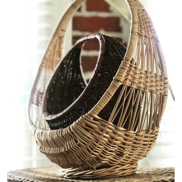 Boho Chic Nesting Gondola Woven Wicker Rattan Baskets - a Pair For Sale - Image 3 of 12