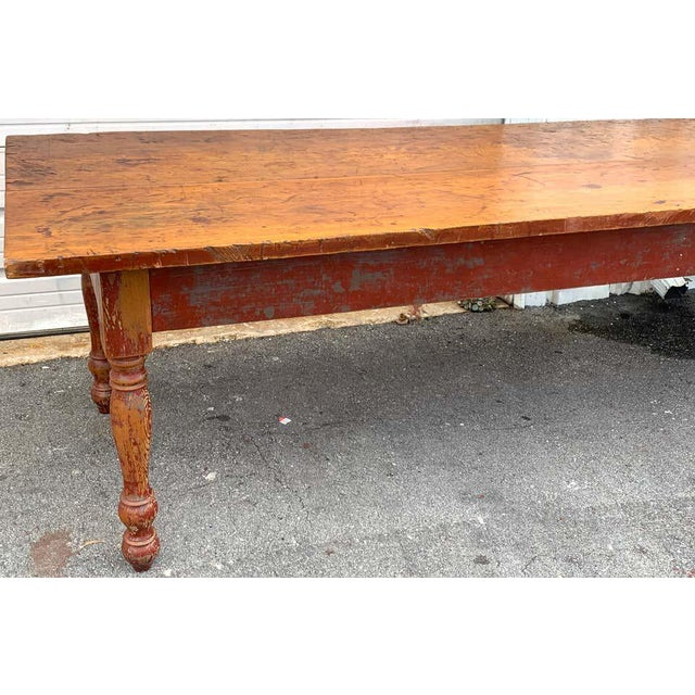 Chestnut Late 19th Century Southern Red Paint and Chestnut Farm Table For Sale - Image 8 of 13