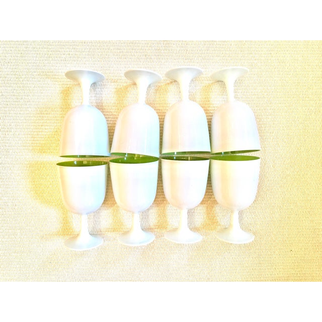 Hollywood Regency Carlo Moretti Inspired White and Green Murano Cased Glass Goblets - Set of 8 For Sale - Image 3 of 12