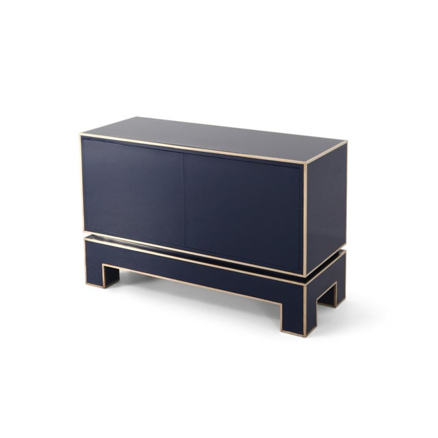 Brass and Blue Two-Door Cabinet Maison Jansen For Sale - Image 12 of 12