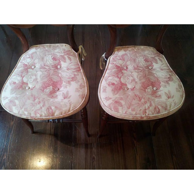 Pair of Mahogany Balloon-Back Chairs/Bennison Seats For Sale - Image 4 of 7