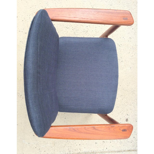 1950s Danish Modern Børge Mogensen Lænestol Armchair in Blue For Sale - Image 5 of 10
