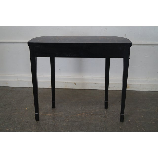 Hand Painted Chinoiserie Demilune Console Table For Sale - Image 4 of 10