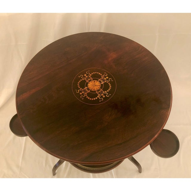 English Traditional Unusual Antique Rosewood Side Table With Delicate Inlay and Coasters, Circa 1860-1870. For Sale - Image 3 of 6